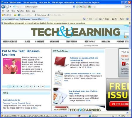 On Homepage of Tech and Learning