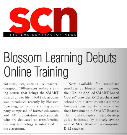 SCN - Blossom Learning Mrs Blossom SMART Board Course Article